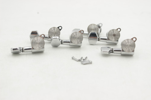Set (6) Chrome Strat-Style Locking Tuners Tuning Pegs w/ Screws