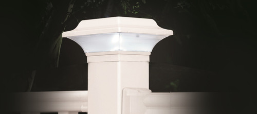 Two and one half by two and one half inch White Solar Aluminum Post Cap - Best solar post cap available on the market! Fits two inch, two and one quarter inch, and two and one half inch post.