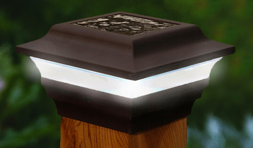 Four by four Bronze Color Solar Post Cap - Aluminum. Fits three and one half inch and four inch post. Adapter included.