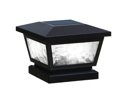 Four by four Solar Post Cap (Nominal) Black with Pebbled Glass. Fits three and one half inch, four inch, and five inch post. Adapter included.