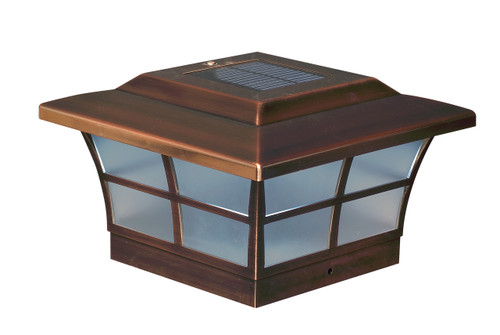 Six by six Solar Post Cap (Nominal) - Copper Finish. Fits five and one half inch post.