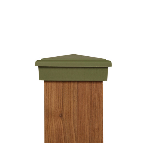 Four by four olive green slim profile post cap. Fits Actual three and one half inch posts.