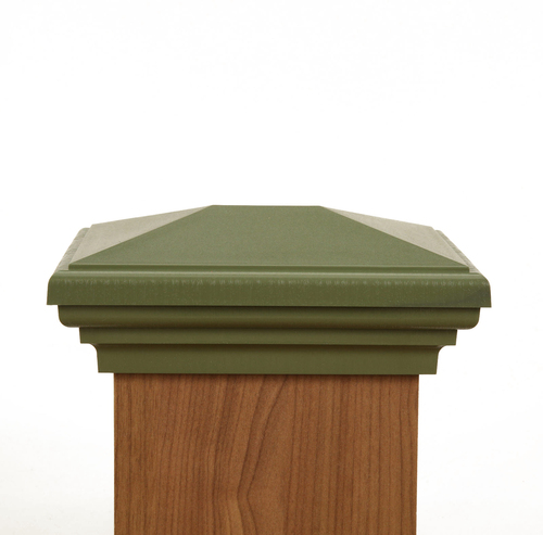 Four by six Olive Green Post Cap.  This post cap fits a three and one half  by five and one half post.