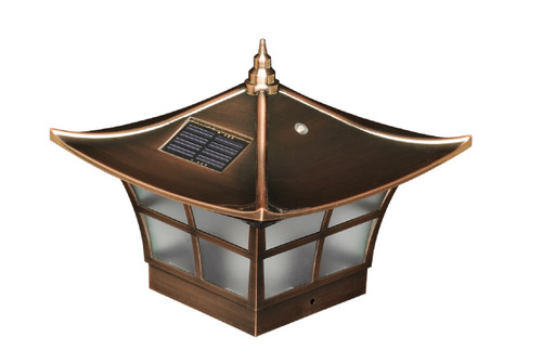 Four by four Copper Plated PVC Solar Post Cap. Fits three and one half inch and four inch post, adapter included.