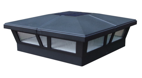 Six by six (nominal) Solar Post Cap - Slim Profile Black Aluminum. Fits five inch and six inch posts, adapter included.