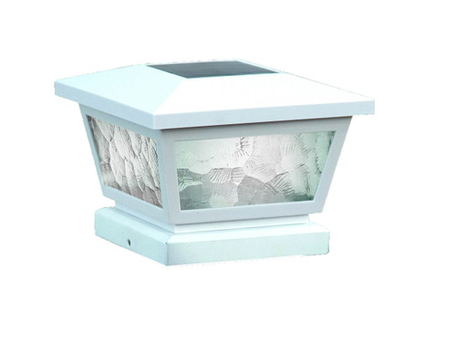 Four by Four Solar Post Cap (Nominal) White with Pebbled Glass. Comes with adapter to fit three and one half inch, four inch, and five inch post.