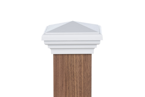 Four by four nominal White Pyramid Post Cap for wooden posts.