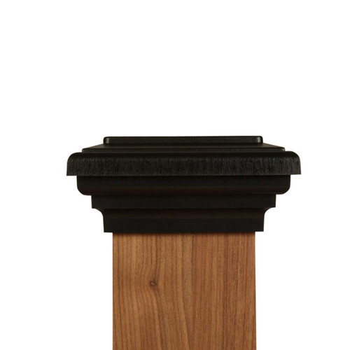 Four by four Black Flat Top Post Cap for wooden posts.