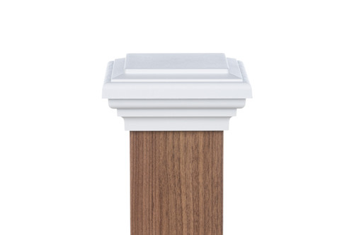 Four by four nominal White Flat Top Post Cap for wooden posts.
