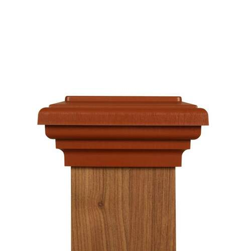 Four by four Cedar Color Flat Top Post Cap for wooden posts.
