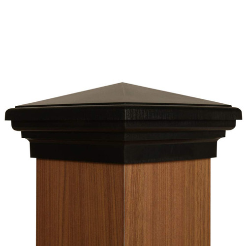 Six by six Black Pyramid fence Post Cap for wooden posts.