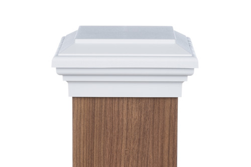 Six by six White Flat Top Post Cap for wooden posts.