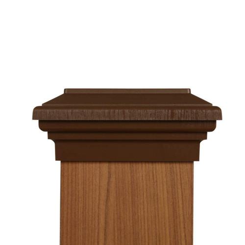 Six by six Mocha Brown Flat Top Post Cap for wooden posts.