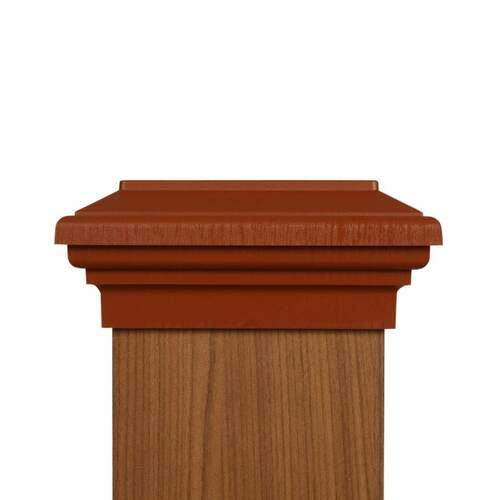 Six by six Cedar Color Flat Top Post Cap for wooden posts.