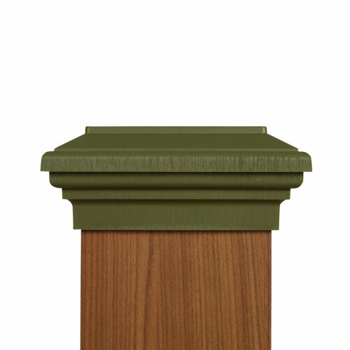 Six by six Olive Green Flat Top Post Cap for wooden posts.