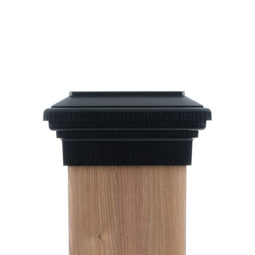 Eight by eight Black Flat Top deck Post Cap for wooden posts.