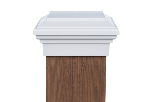 Eight by eight White Flat Top deck Post Cap for wooden posts.
