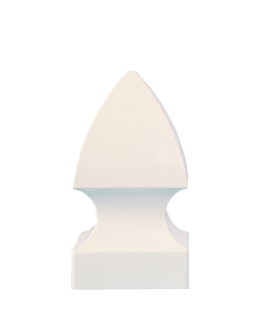 Four inch white vinyl gothic style post cap for true four inch posts