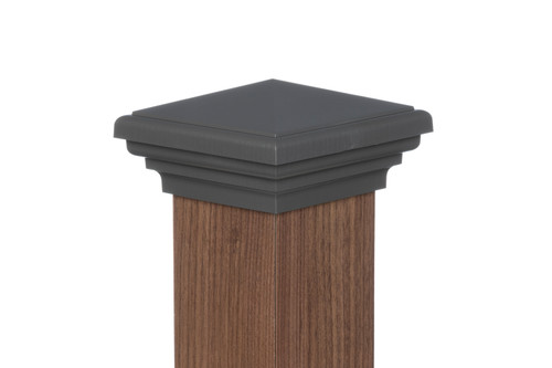 Four by four nominal Gray Pyramid Top Post Cap for wooden posts.
