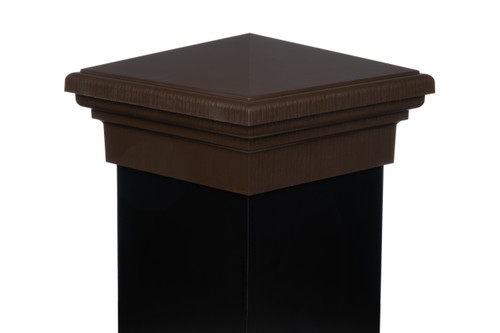 Eight inch by eight inch Brown Pyramid Top Fence Post Cap for wooden posts.