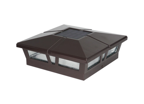 Six by six (nominal) Solar Post Cap - Slim Profile Brown Aluminum. Fits five inch and six inch posts, adapter included.