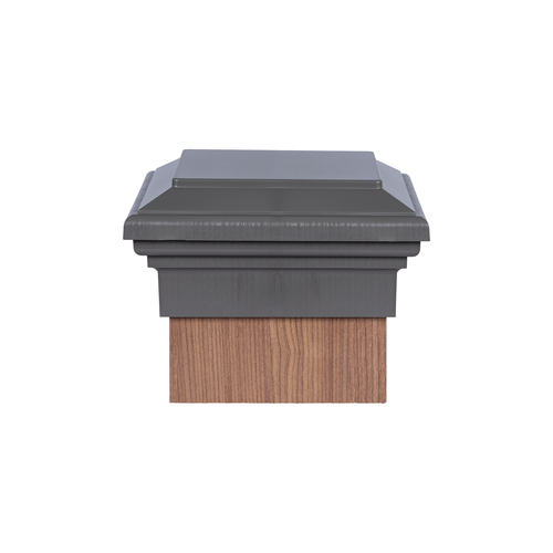 Eight by eight Gray Flat Top Deck Post Cap for wooden posts.