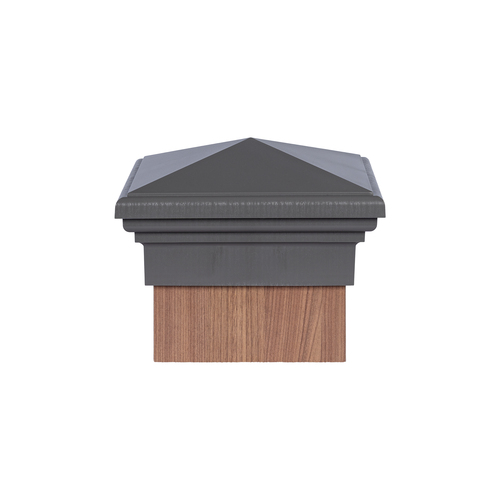 Eight inch by eight inch Gray Pyramid Top Fence Post Cap for wooden posts.