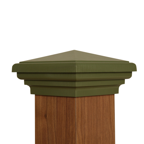 Four by four nominal Green Pyramid Top Post Cap for wooden posts.