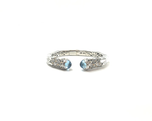 Blue Topaz Bamboo Cuff | Brilliant Atlanta