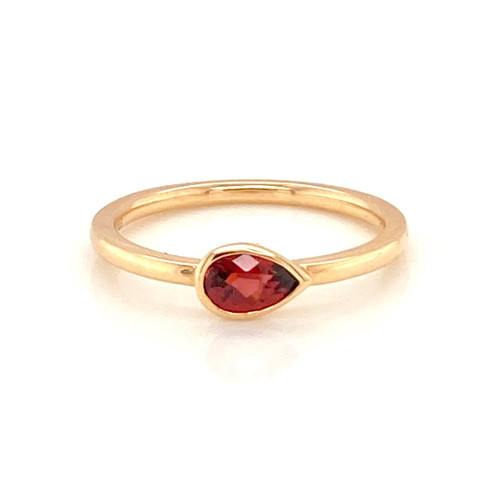 Pear Shaped Garnet Bezel Band | Brilliant Atlanta