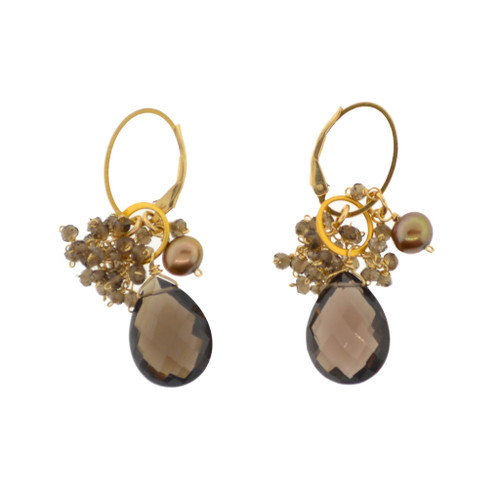 Smokey Quartz Cluster Earrings | Brilliant Atlanta