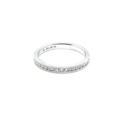 Diamond Milgrain Half Band, 14k White Gold, 0.25 ct.