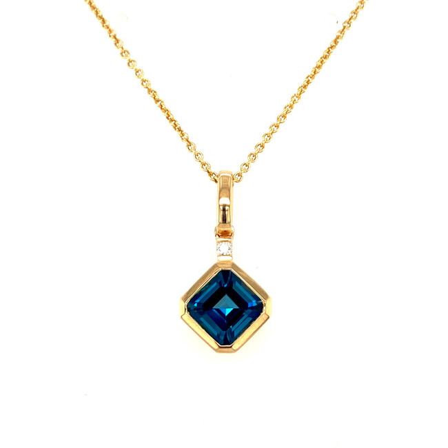 London Blue Topaz + Diamond Pendant |  Brilliant Atlanta