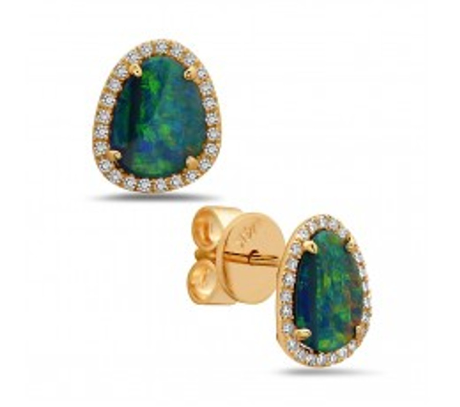 Black Opal Doublet Stud Earrings | Brilliant - Custom Design Studio and Jewelry Boutique