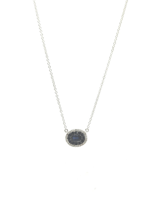 Oval Sapphire + Diamond Necklace | Brilliant - Custom Design Studio and Jewelry Boutique