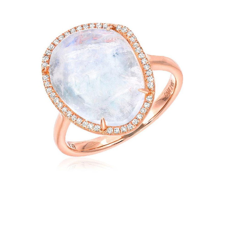 Rainbow Moonstone Halo Ring | Brilliant Atlanta