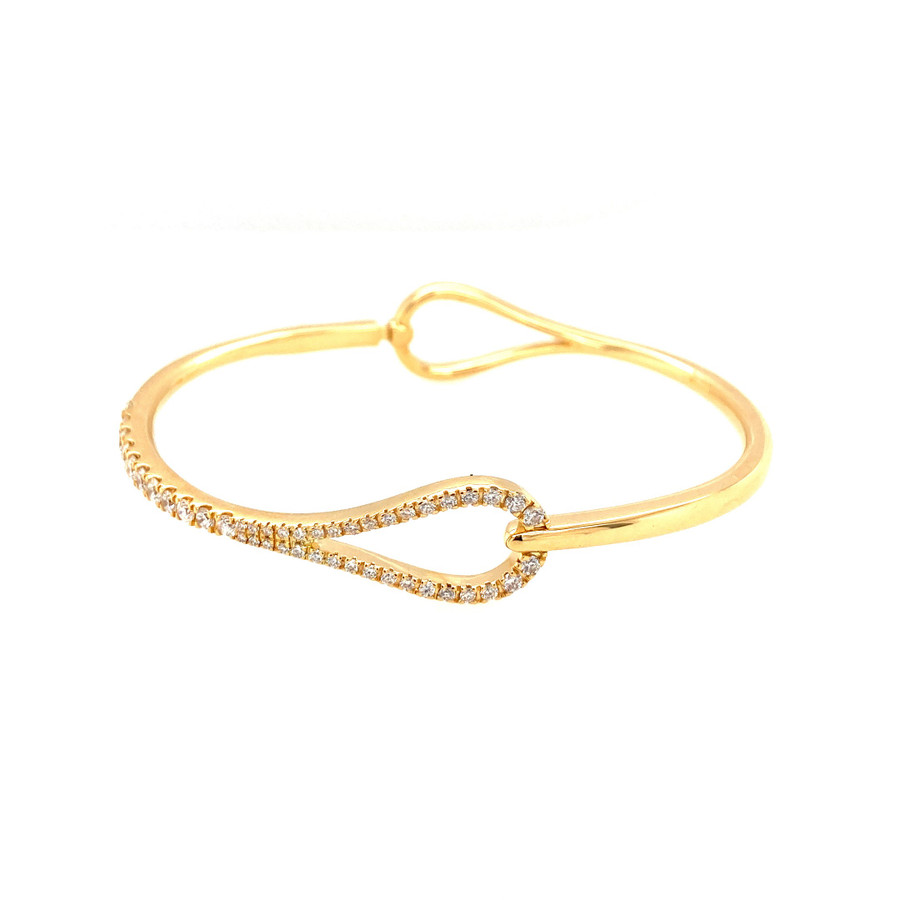 Pear Shaped Hinged Diamond Bangle