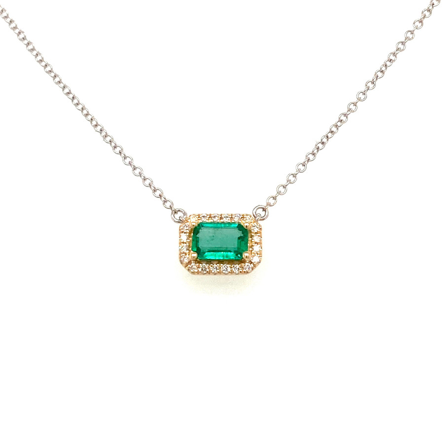 Emerald Halo Necklace | Brilliant Atlanta