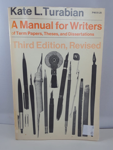 A Manual for Writers, Third Edition , Revised - Kate L. Turabian