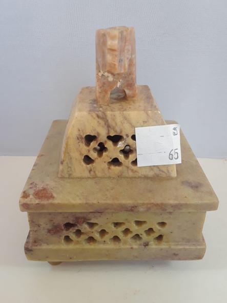 Perforated Elephant Soapstone Box - Caja de Jabón de Elefante Perforado