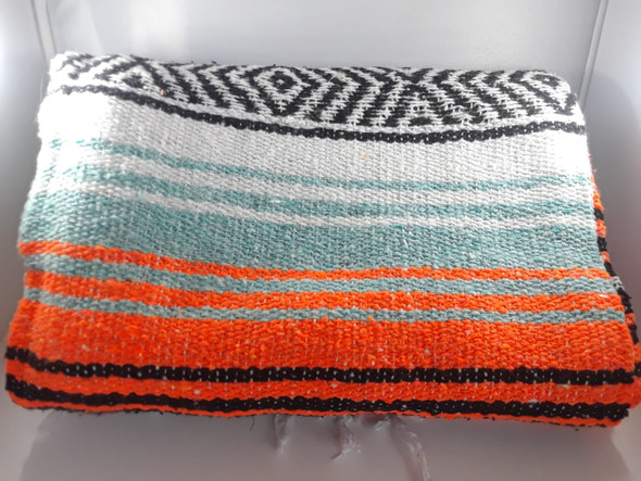 Classic Mexican Blanket, Orange, Light Blue - Manta Clásica Mexicana, Naranja, Azul Claro