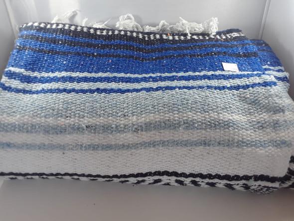 Classic Mexican Blanket, Cobalt Blue- Light Blue-White -  Manta Clásica Mexicana, Azul Cobalto - Azul Claro - Blanco