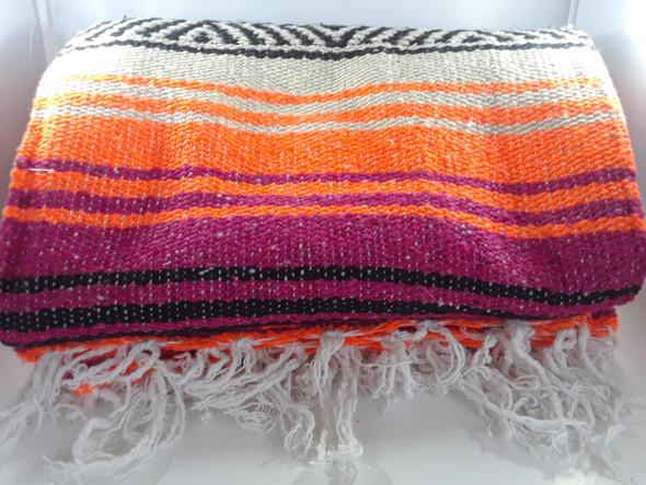 Classic Mexican Blanket, Orange, Purple - Manta Clásica Mexicana, Naranja, Púrpura