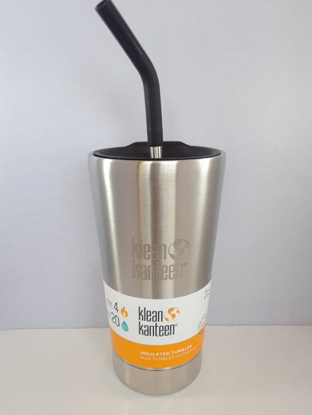 Insulated Tumbler Cup with Straw, Brushed Stainless, 16 oz. - Vaso Aislado con Paja, Acero Inoxidable Cepillado, 16 oz.