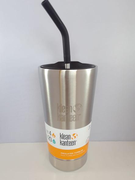 Insulated Tumbler Cup with Straw, Brushed Stainless, 16 oz. - Vaso Aislado con Paja, Acero Inoxidable Cepillado, 16 oz.