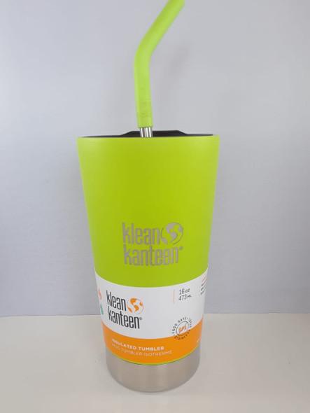 Insulated Tumbler Cup with Straw, Neon, 16 oz. - Vaso aislante con paja, neón, 16 onzas