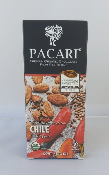 Chocolate Bar, Chile Peppers, Organic, 50 gr. - Chocolate Organico, Chile, Organico, 50 gr.