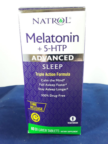 Melatonin + 5 HTP, Advanced Sleep, 60 Bi-Layer Tablets - Melatonina + 5 HTP, Sueño Avanzado, 60 Tabletas de Bi-capa