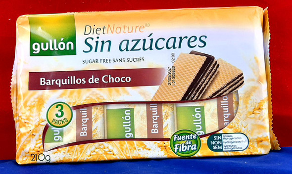 Chocolate Wafers, Sugar-Free, 3 Packs - Barquillos de Chocolate, sin Azúcar, 3 Paquetes
