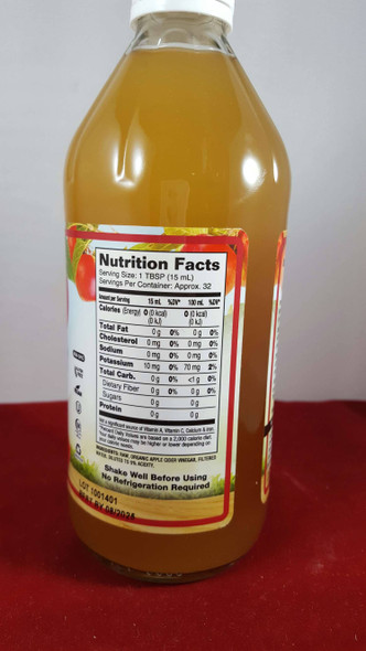 Apple Cider Vinegar, Organic, Raw, with Mother, 16 fl oz. - Vinagre de Sidra de Manzana, Orgánico, Crudo, con Madre, 16 fl oz.